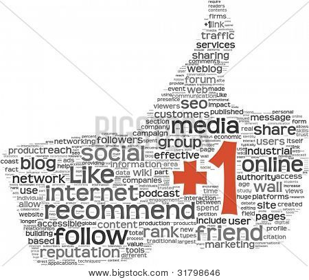 +1 Add concept as social media symbol in tag cloud of thumb up shape. Isolated on white background