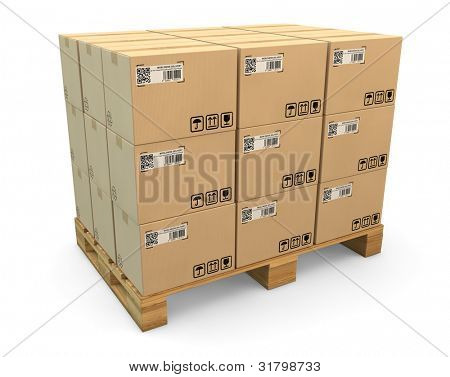 Many labeled transport boxes on a freight pallet