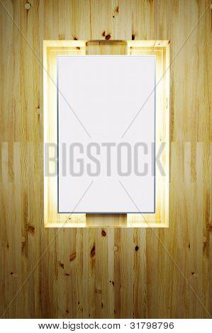 leere Plakat an der Fassade aus Holz. 3D render