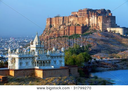 Mehrangarh Fort and Jaswant Thada mausoleum in Jodhpur, Rajasthan, India