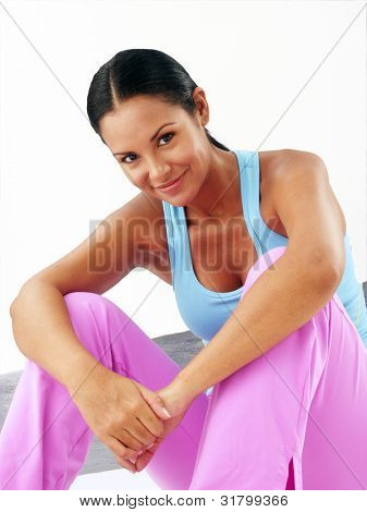 Fitness young latin woman portrait.