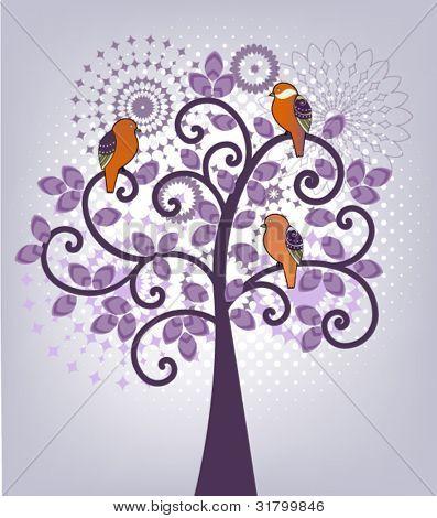 Pretty tree with birds