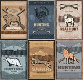 Hunting Season, African Safari Hunt Vintage Posters Of Wild Animals And Hunter Ammo. Vector Hunt Clu poster