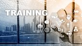 Business Training Concept. Training Webinar E-learning. Financial Technology And Communication Conce poster
