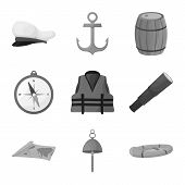 Isolated Object Of Nautical And Voyage Symbol. Collection Of Nautical And Seafaring Stock Vector Ill poster