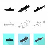 Vector Illustration Of War And Ship Logo. Set Of War And Fleet Vector Icon For Stock. poster