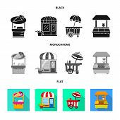Vector Illustration Of Amusement And Store Symbol. Set Of Amusement And Urban Vector Icon For Stock. poster