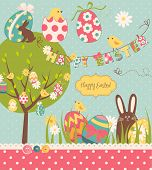 Easter Extravaganza. Big Easter set with cute chocolate rabbit, colourful eggs, chicks, Easter tree