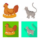 Vector Design Of Breeding And Kitchen Logo. Set Of Breeding And Organic Stock Vector Illustration. poster