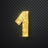 Gold Glitter Numbers One With Shadow. Vector Realistick Shining Golden Font Figure 1 Lettering Of Sp poster