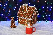The Hand-made Eatable Gingerbread House, Marshmallow Little Men In Mags,  New Year Tree, Snow Decora poster