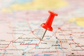 Red Clerical Needle On A Map Of Usa, South Alabama And The Capital Montgomery. Close Up Map Of South poster