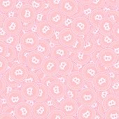 Bitcoin, Internet Currency Copper Coins Seamless Pattern. Amazing Scattered Pink Btc Coins. Success  poster