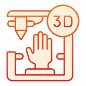 3d Organ Printing Flat Icon. Bionic Hand Printing Orange Icons In Trendy Flat Style. 3d Arm Printing poster
