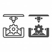 Cogwheel 3d Printing Line And Glyph Icon. 3d Printing Mechanics Vector Illustration Isolated On Whit poster