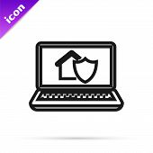 Black Line Laptop With House Under Protection Icon Isolated On White Background. Protection, Safety, poster