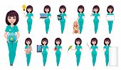 Veterinarian Woman. Cute Cartoon Character, Professional Female Vet Doctor, Set Of Thirteen Poses. V poster
