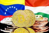 Concept For Investors In Cryptocurrency And Blockchain Technology In The Venezuela And Hungary. Bitc poster