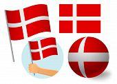 Denmark Flag Icon Set. National Flag Of Denmark Vector Illustration poster
