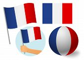 France Flag Icon Set. National Flag Of France Vector Illustration poster