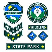 Set Of Mountain Travel, Tourism, Hiking Patches. Forest Camping Outdoor Adventure Emblems, Labels Ba poster