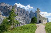 Cappella Di San Maurizio, Passo Gardena, Dolomites Italy - Summer Mountain Scenery poster