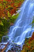 foto of upstream  - Vivid colorful falls upstream from Multnomah Falls - JPG