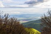 Scenic Balkan Mountains May View From Shipka Peak, Bulgaria Under Overcast Sky poster