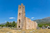 Ruins Of Early Pre-romanesque Church Of Holy Salvation And Cemetery Near Small Town Vrlika In Cetina poster