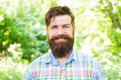 Smiling Increases Happiness. Bearded Man With Cheerful Smiling Face On Natural Landscape. Smiling Hi poster