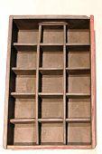 Vintage Brown Wood Drawers Inserts Organization Storage poster