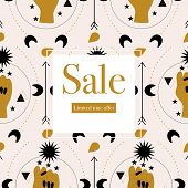 Elegant Sale Banner With Hands And Celestial Elements.vector Elements. Geometric Banner poster