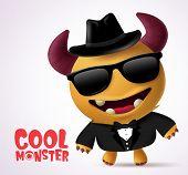 Cool Monster Escort Vector Character Design. Cool Monster Character Creature With Funny Pose Wearing poster