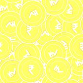 Indian Rupee Gold Coins Seamless Pattern. Divine Scattered Yellow Inr Coins. Success Concept. India  poster