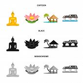 Isolated Object Of Journey And Exotic Logo. Collection Of Journey And National Vector Icon For Stock poster