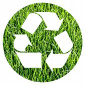 stock photo of reprocess  - recycle symbol inside a circle of photographic green grass - JPG