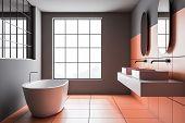 Gray And Orange Tile Bathroom Interior poster