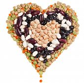 Heart of lentils, beans, peas, haricot kidney beans legumes  isolated on a white