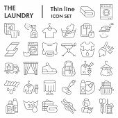 Laundry Thin Line Icon Set, Washing Clothes Symbols Collection, Vector Sketches, Logo Illustrations, poster
