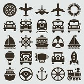 Vintage retro icons transport set. Vector design elements.