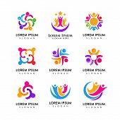 Teamwork And Community Logo Design Vector. Adoption And Social Network Logo Design Template poster