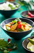 stock photo of curry chicken  - Chicken curry with green beans  and rice - JPG