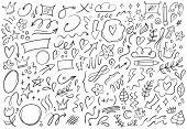 Decorative Doodles. Hand Drawn Pointing Arrow, Outline Shapes And Doodle Frames. Ink Signs Decoratio poster