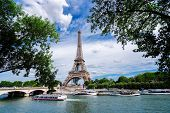 Paris Famous Landmarks. Eiffel Tower Iwith Green Tree Over River, Paris France poster