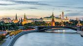 Moscow Kremlin At Moskva River, Russia. Scenery Of The Moscow Old City At Night. Panoramic View Of A poster