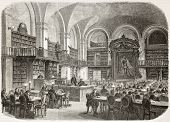 Saint-Petersburg imperial library, reading hall, old illustration. Created by Gaildrau, published on
