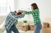 Negative Emotions Of Couples, Abuse And Family Fight Concept. Husband And Wife Arguing And Yelling E poster