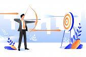 Business Goal Achievement Concept. Vector Flat Cartoon Illustration. Successful Businessman Aiming T poster