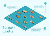 Freight Sea Transport Infographics 3d Vector Illustration. Sea Transport Logistic For Brochure, Web  poster