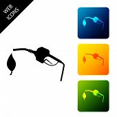 Bio Fuel Concept With Fueling Nozzle And Leaf Icon Isolated On White Background. Natural Energy Conc poster